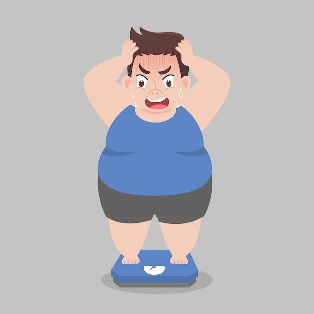 Big fat man in piedi su bilance elettroniche per il peso corporeo Vettore Premium