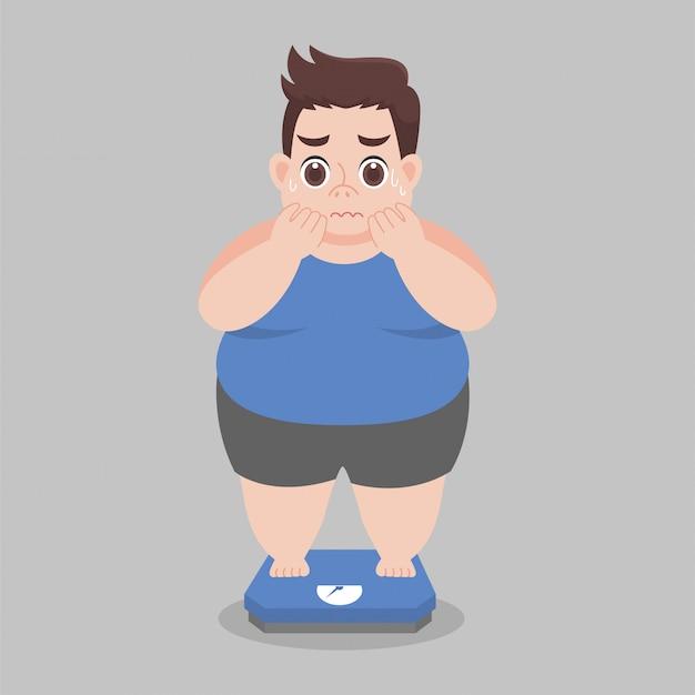 Big fat man preoccupazione in piedi su bilance elettroniche per il peso corporeo Vettore Premium