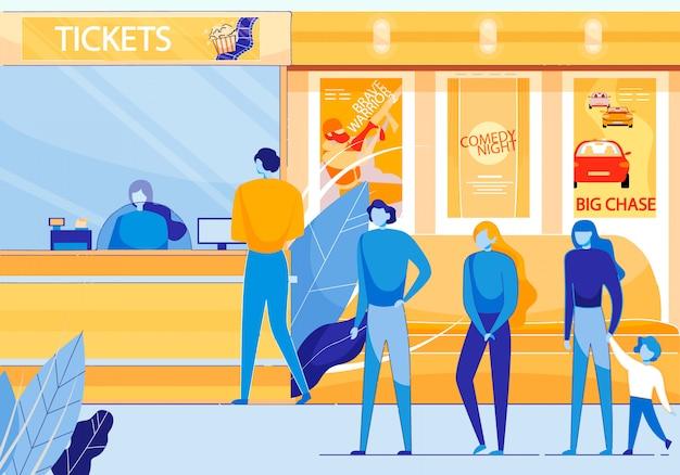 Biglietteria del cinema che vende biglietti per film piatti Vettore Premium