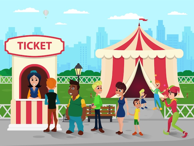Biglietteria presso circus, seller e people queue Vettore Premium