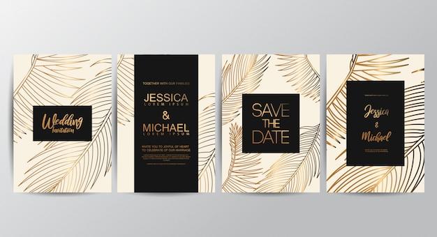Biglietti d'invito di lusso premium per matrimoni Vettore Premium