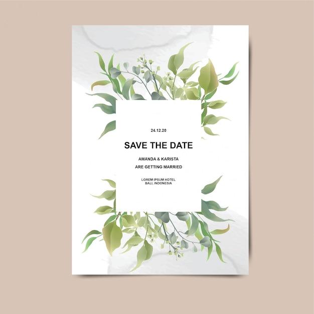 Biglietti d'invito di nozze con decorazioni a foglia e sfondi ad acquerello Vettore Premium