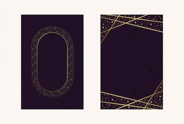 Biglietti d'invito magenta foglia oro lusso coriandoli Vettore Premium