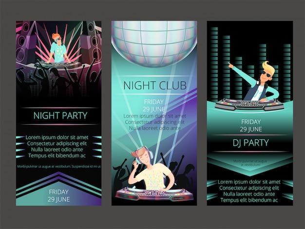 Biglietti d'invito per night club. Vettore Premium