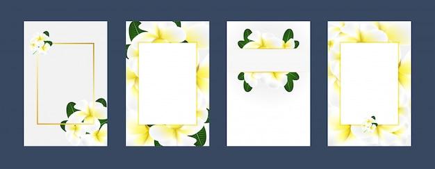 Biglietti d'invito plumeria bianco sfondo giallo Vettore Premium