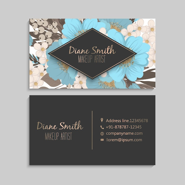 Biglietti da visita fiore azzurro Vettore gratuito