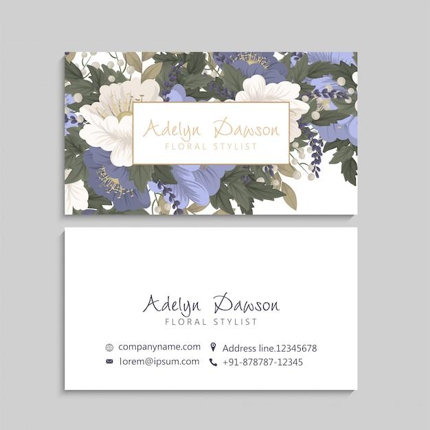 Biglietti da visita fiore blu floreale Vettore gratuito