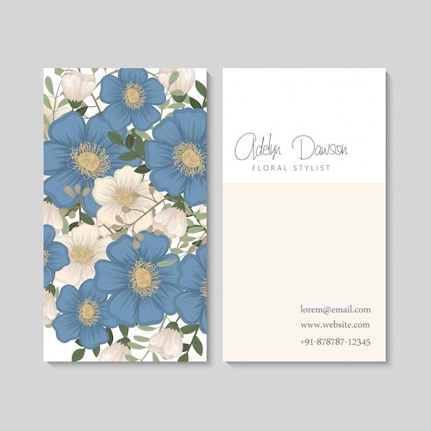 Biglietti da visita fiore fiori blu Vettore gratuito