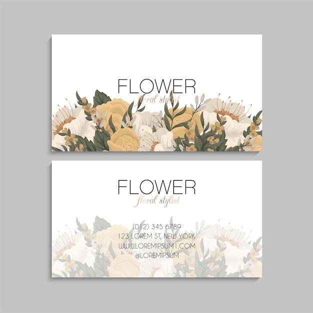 Biglietti da visita fiore fiori gialli Vettore gratuito