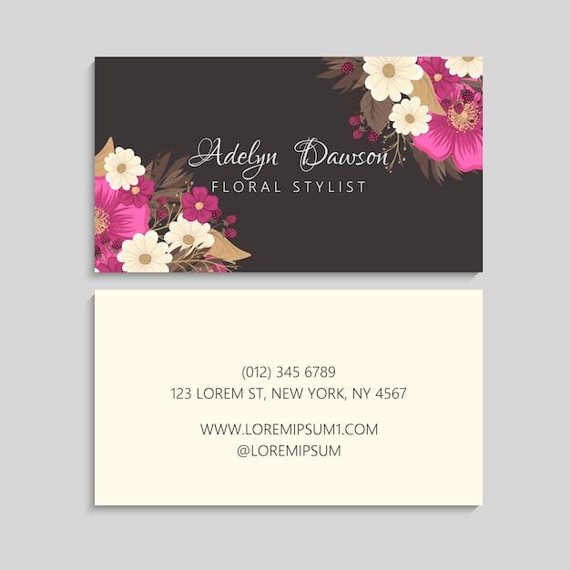 Biglietti da visita fiore fiori rosa caldo Vettore gratuito