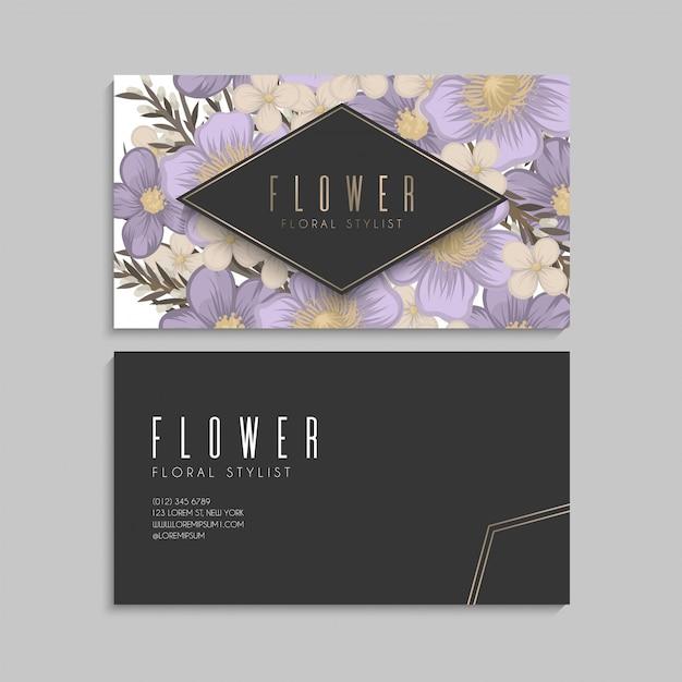 Biglietti da visita fiore fiori viola Vettore gratuito