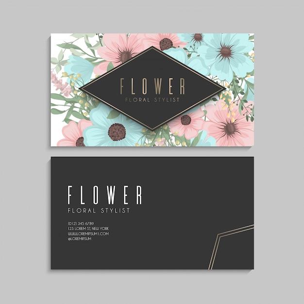 Biglietti da visita fiore verde menta Vettore gratuito