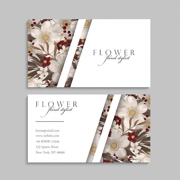 Biglietti da visita fiori fiori rossi Vettore gratuito