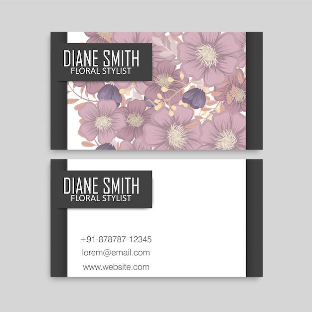 Biglietti da visita floreali fiori rosa Vettore gratuito