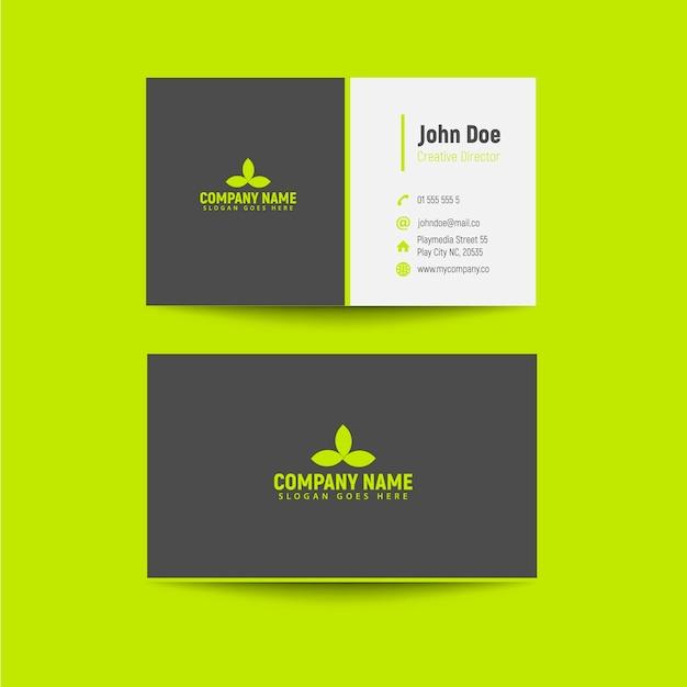 Biglietti da visita grigi e verdi Vettore Premium