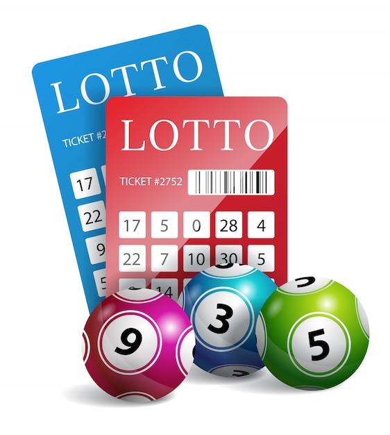 Biglietti della lotteria con le palle. gioco d'azzardo, tombola, possibilità. concetto di fortuna Vettore gratuito