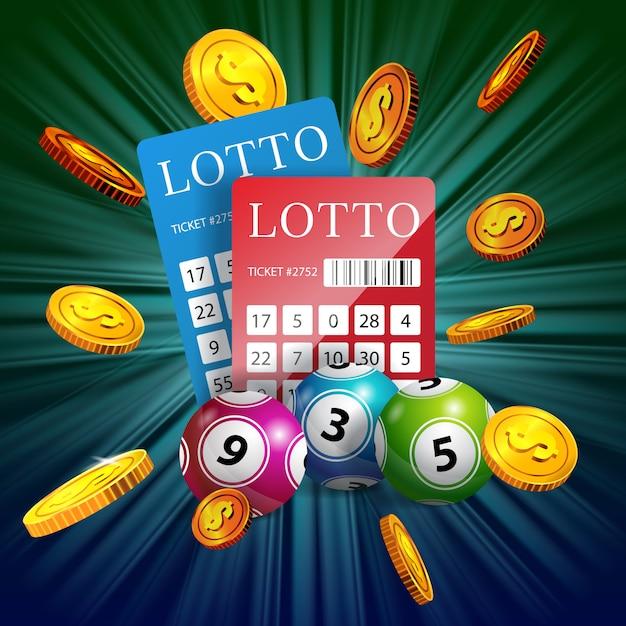 Biglietti della lotteria, palle e monete d'oro volanti. pubblicità d'affari di gioco Vettore gratuito