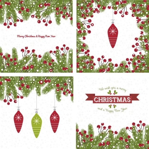 Biglietti Di Auguri Di Natale Con Vischio Scaricare Vettori Gratis