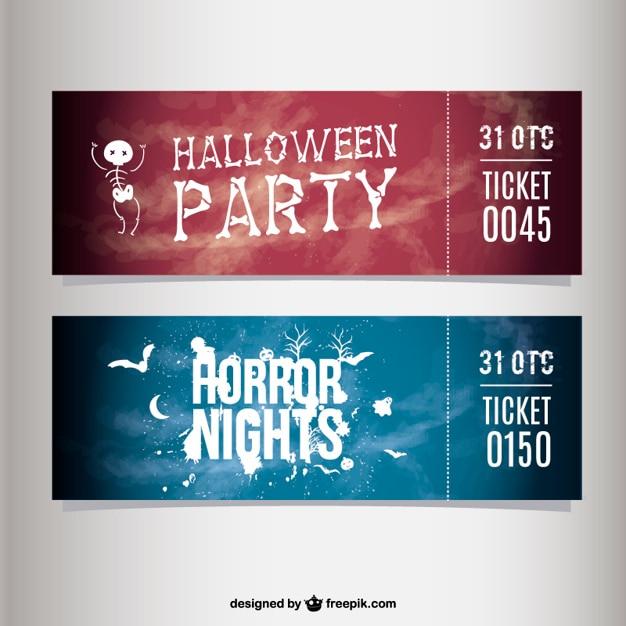 Biglietti festa di halloween Vettore gratuito
