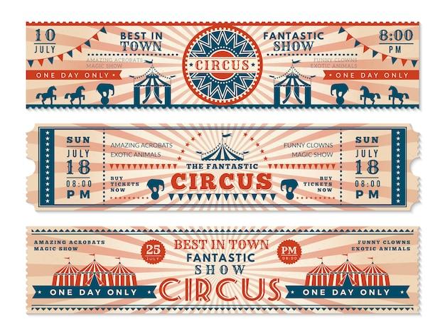 Biglietti per il circo. invito banner orizzontale per circo spettacolo banner web retrò di carnevale Vettore Premium