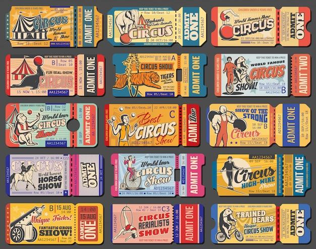 Biglietti retrò per spettacoli di circo e luna park Vettore Premium