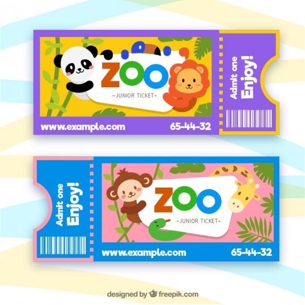 Biglietti zoo con gli animali dei cartoni animati
