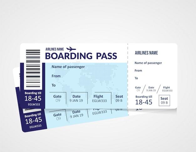 Biglietto aereo, modello di carta d'imbarco della compagnia aerea. Vettore Premium