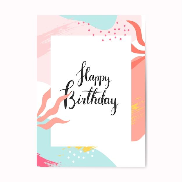 Biglietto d'auguri buon compleanno colorato di memphis design Vettore gratuito