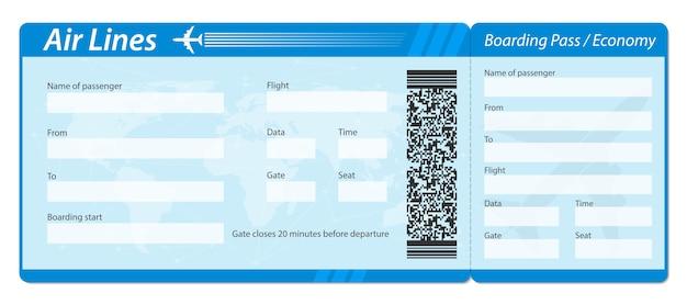 Biglietto d'imbarco aereo per i viaggi in aereo. Vettore Premium