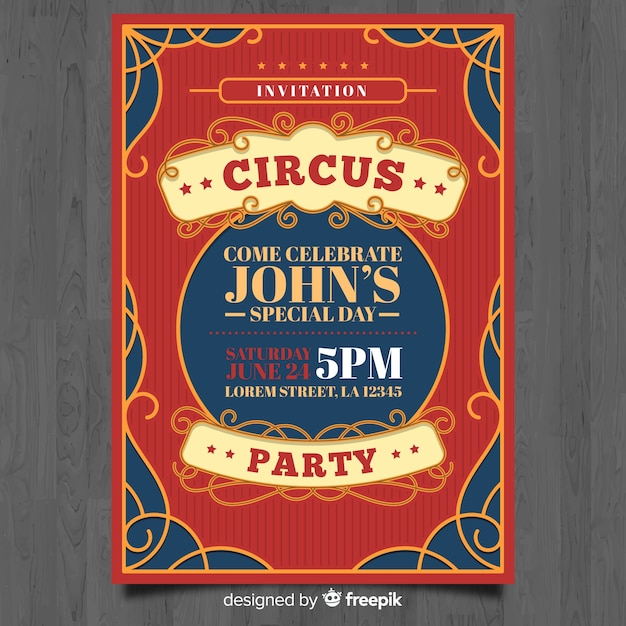 Biglietto d'invito circo Vettore gratuito