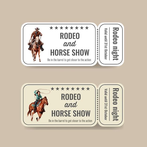 Biglietto da cowboy con rodeo americano Vettore gratuito
