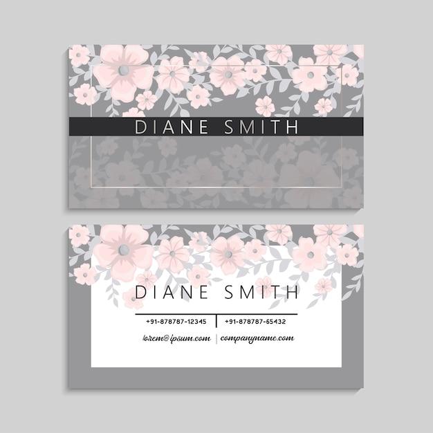 Biglietto da visita carino con bellissimi fiori rosa chiaro Vettore gratuito