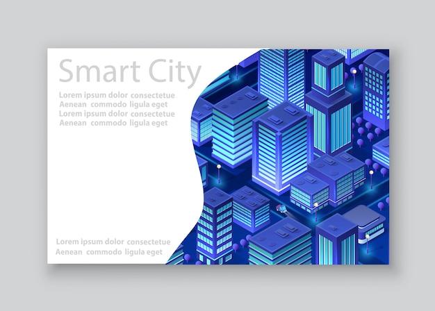 Biglietto da visita città isometrica Vettore Premium