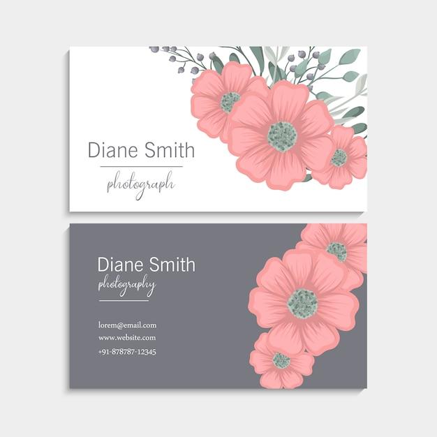 Biglietto da visita con bellissimi fiori rosa. modello Vettore gratuito