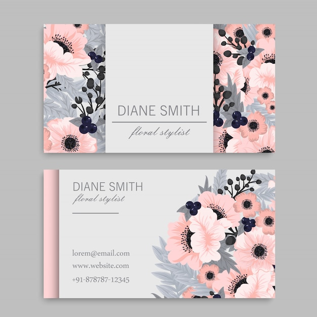 Biglietto da visita con bellissimi fiori rosa Vettore gratuito