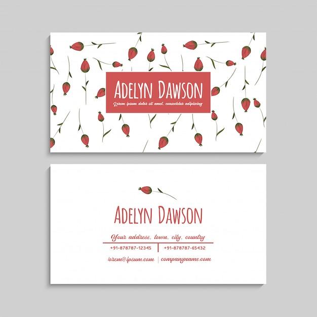 Biglietto da visita con bellissimi fiori rossi. Vettore gratuito