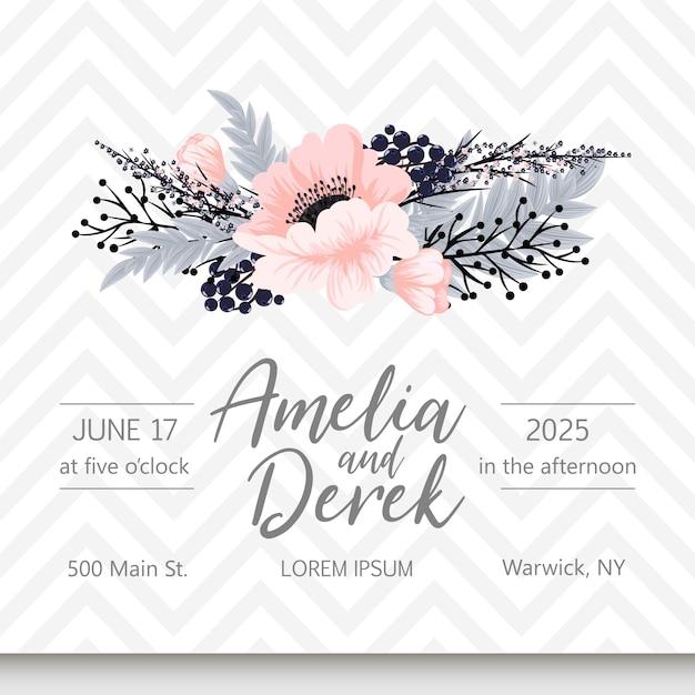 Biglietto da visita con bellissimi fiori Vettore gratuito