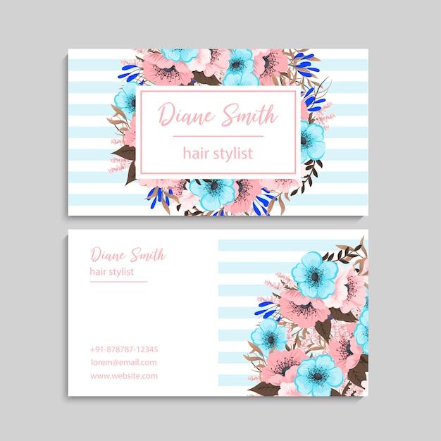 Biglietto da visita con bellissimi fiori. Vettore gratuito