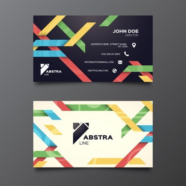 Biglietto da visita con cinghie colorate Vettore gratuito