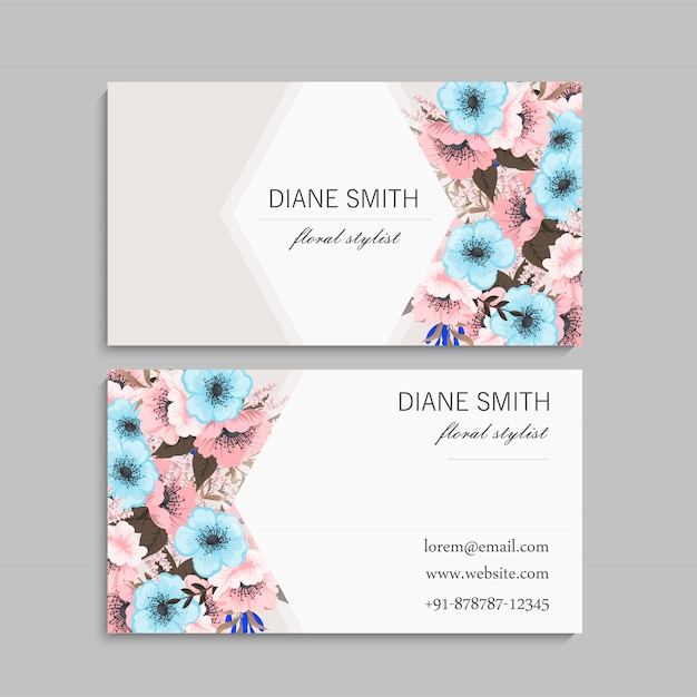 Biglietto da visita con fiori di menta e rosa Vettore Premium