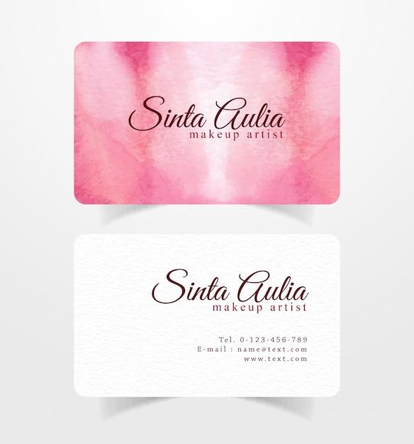 Biglietto da visita con il modello dell'acquerello di pennellate rosa-rosso Vettore Premium