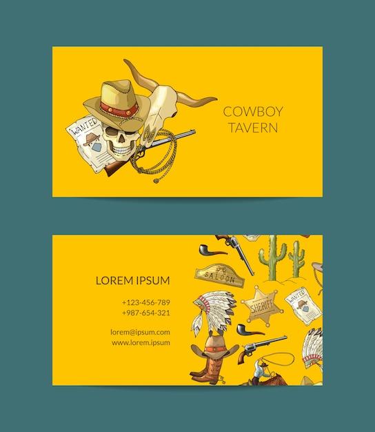 Biglietto da visita da cowboy disegnato a mano Vettore Premium