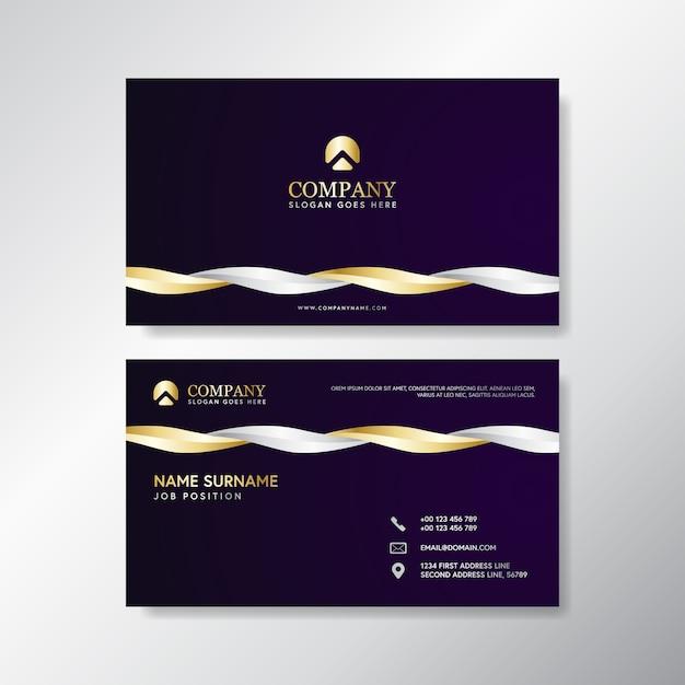 Biglietto da visita dell'onda di lusso con bianco e oro Vettore Premium