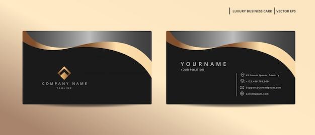 Biglietto da visita design di lusso con modello minimalista stile oro Vettore Premium
