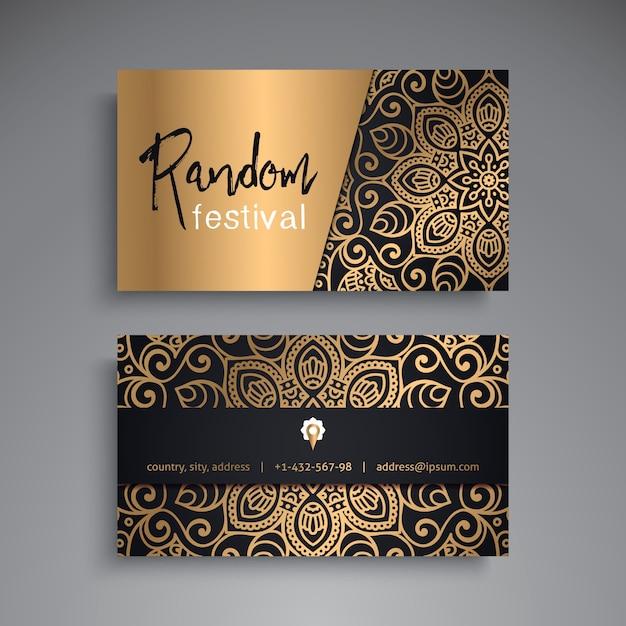 Biglietto da visita elementi decorativi d'oro ornamentali biglietto da visita floreale orientale modello illustrazione vettoriale Vettore gratuito