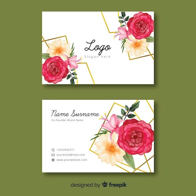 Biglietto da visita floreale con modello di linee dorate Vettore gratuito