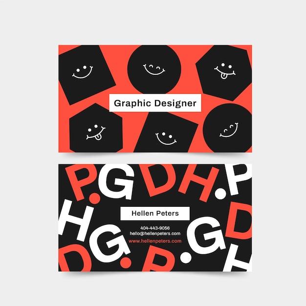 Biglietto da visita graphic designer con facce in bianco e nero Vettore gratuito