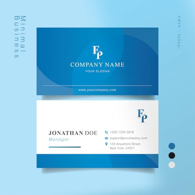 Biglietto da visita intelligente blu e bianco Vettore Premium
