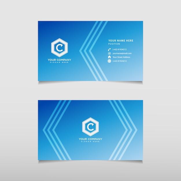 Biglietto da visita moderno blu Vettore Premium