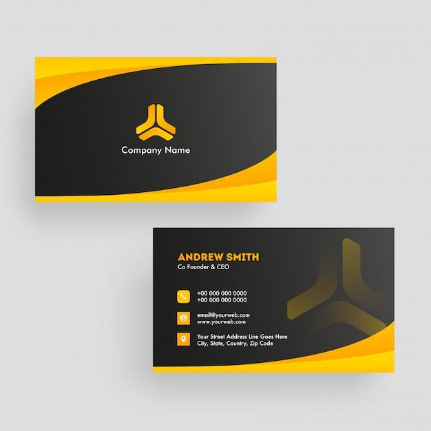 Biglietto da visita nero e arancione della disposizione di colore nella vista anteriore e posteriore. Vettore Premium